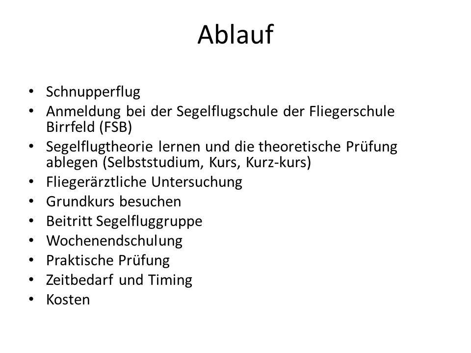 Ablauf Schnupperflug. Anmeldung bei der Segelflugschule der Fliegerschule Birrfeld (FSB)