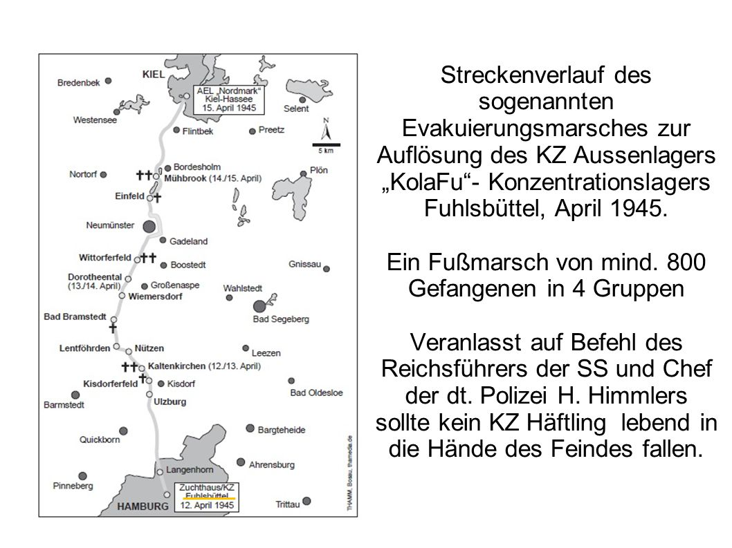 """Streckenverlauf des sogenannten Evakuierungsmarsches zur Auflösung des KZ Aussenlagers """"KolaFu - Konzentrationslagers Fuhlsbüttel, April 1945."""