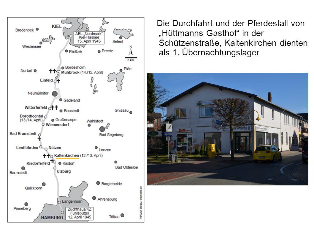 """Die Durchfahrt und der Pferdestall von """"Hüttmanns Gasthof in der Schützenstraße, Kaltenkirchen dienten als 1. Übernachtungslager"""