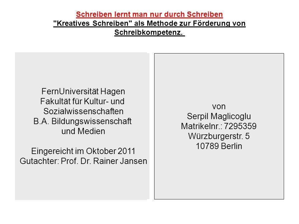 FernUniversität Hagen Fakultät für Kultur- und Sozialwissenschaften