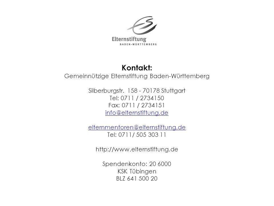 Kontakt: Gemeinnützige Elternstiftung Baden-Württemberg Silberburgstr