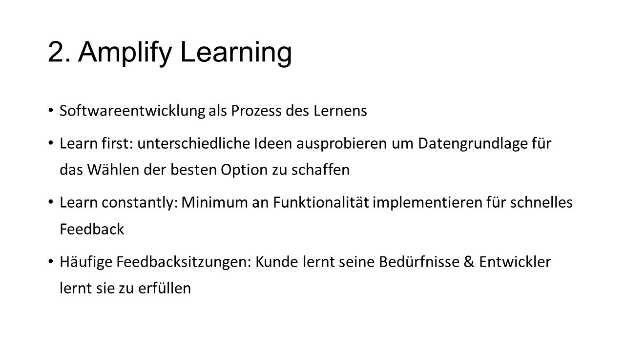 2. Amplify Learning Softwareentwicklung als Prozess des Lernens