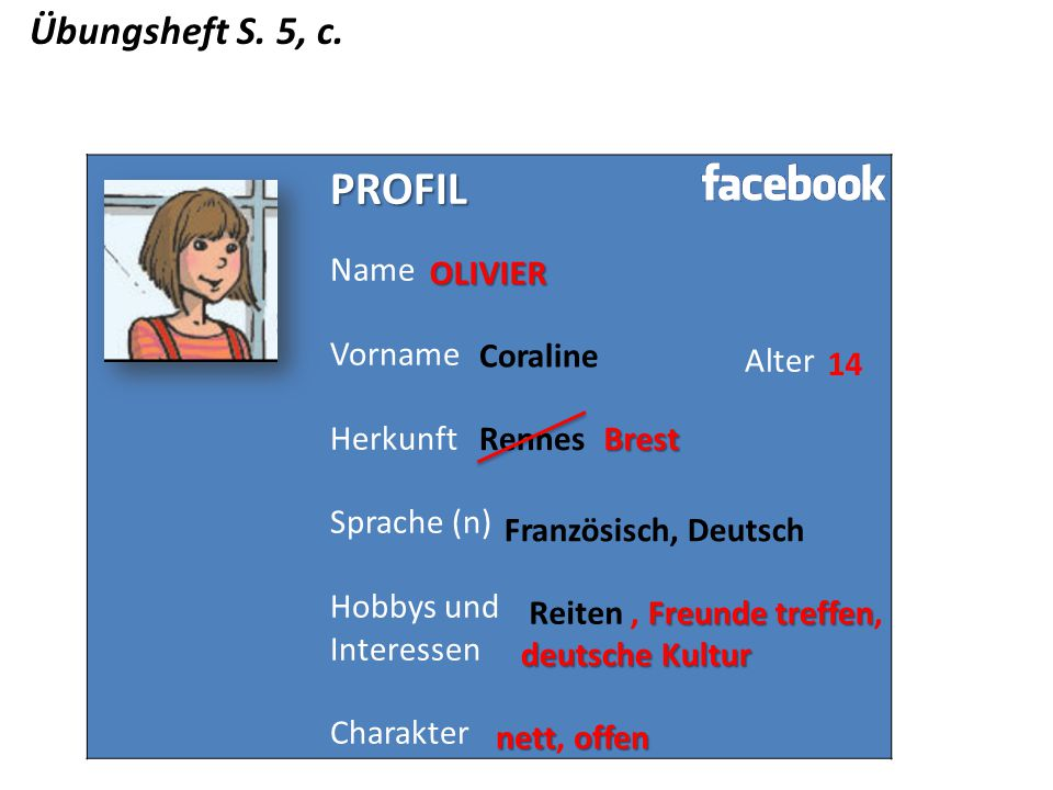 PROFIL Übungsheft S. 5, c. Name Vorname Herkunft Sprache (n)