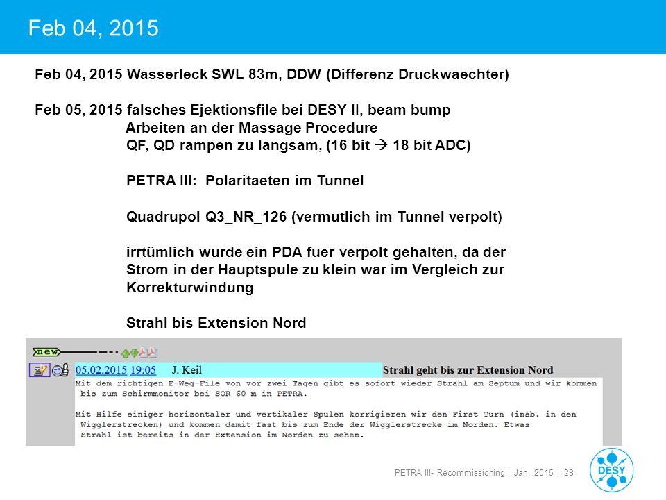 Feb 04, 2015 Feb 04, 2015 Wasserleck SWL 83m, DDW (Differenz Druckwaechter) Feb 05, 2015 falsches Ejektionsfile bei DESY II, beam bump.