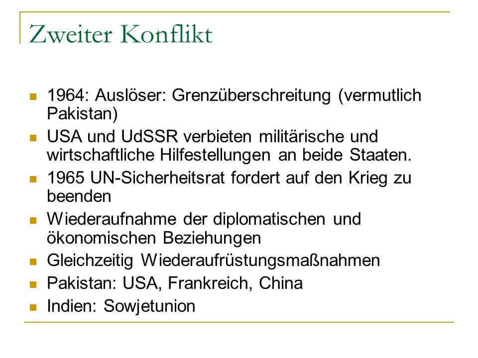 Zweiter Konflikt 1964: Auslöser: Grenzüberschreitung (vermutlich Pakistan)
