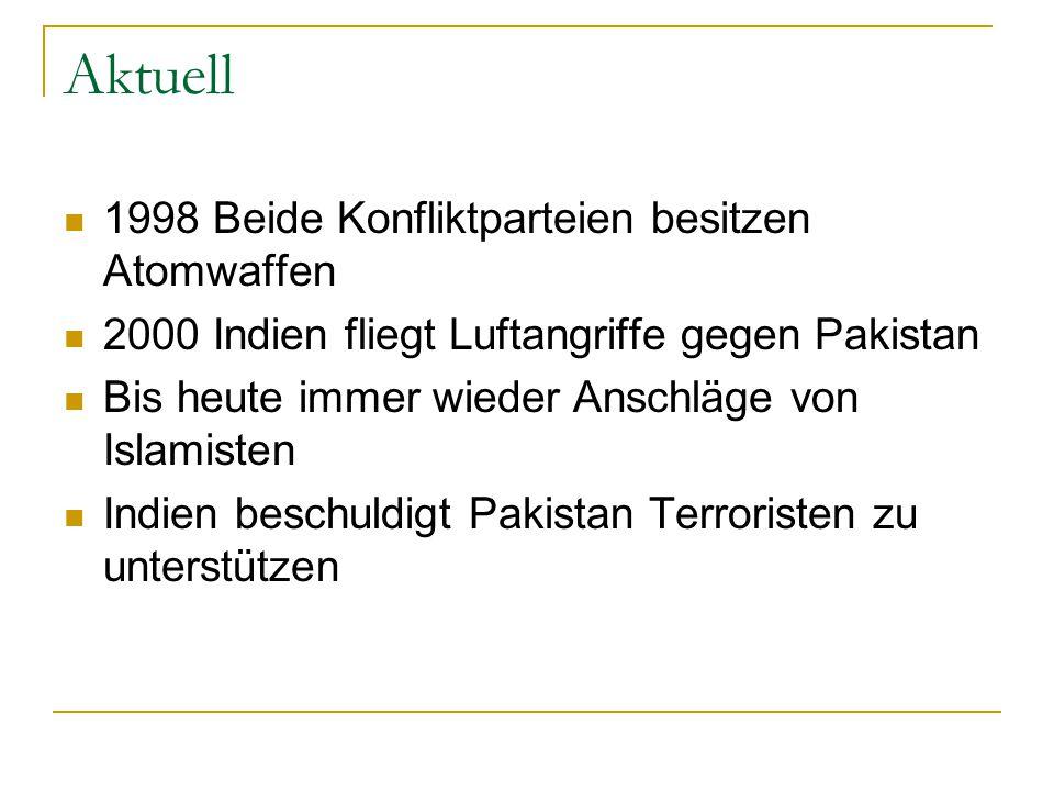 Aktuell 1998 Beide Konfliktparteien besitzen Atomwaffen
