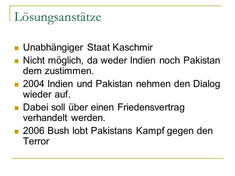 Lösungsanstätze Unabhängiger Staat Kaschmir