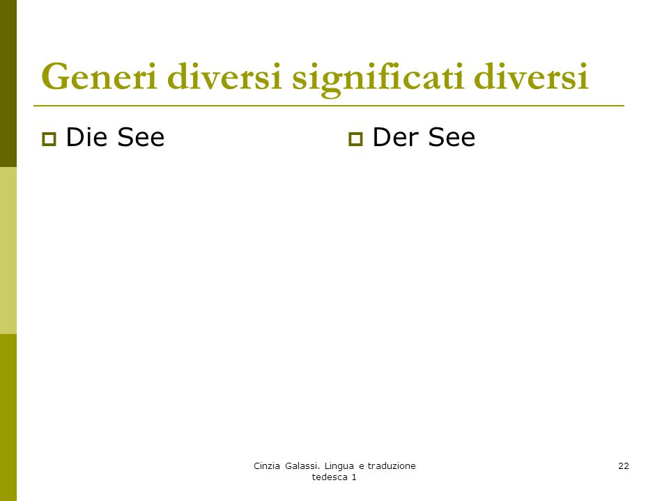 Generi diversi significati diversi