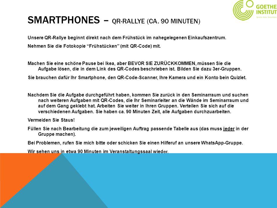 Smartphones – Qr-Rallye (ca. 90 Minuten)