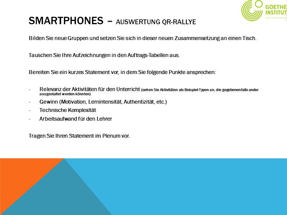 Smartphones – Auswertung QR-Rallye