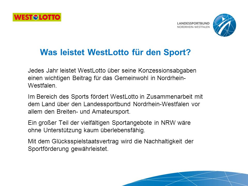 Was leistet WestLotto für den Sport