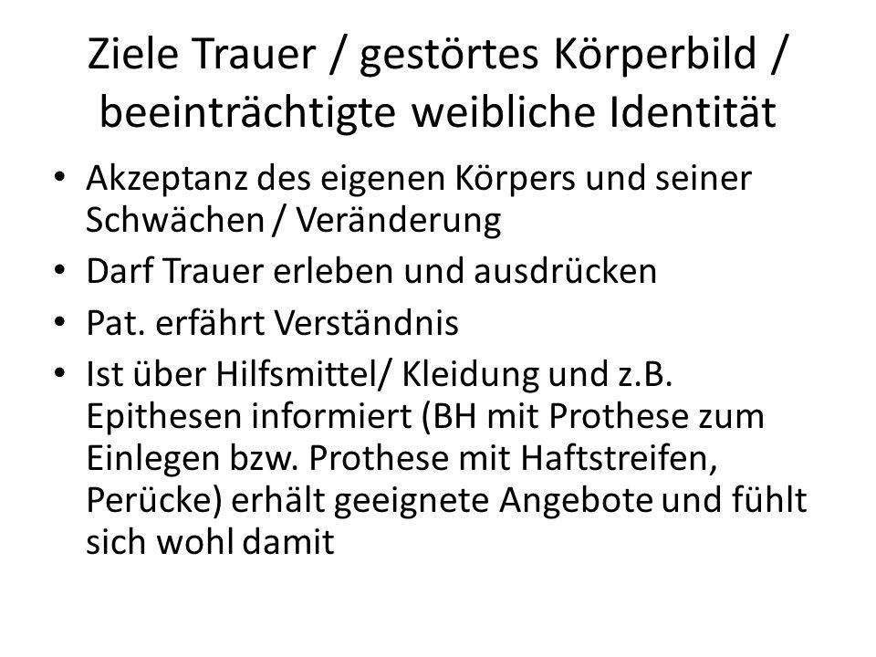 Ziele Trauer / gestörtes Körperbild / beeinträchtigte weibliche Identität