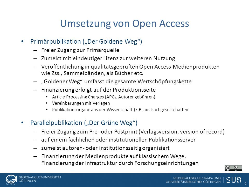 Umsetzung von Open Access