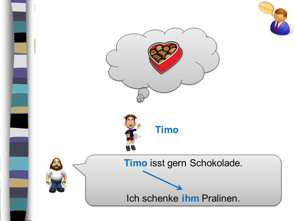 Timo isst gern Schokolade.