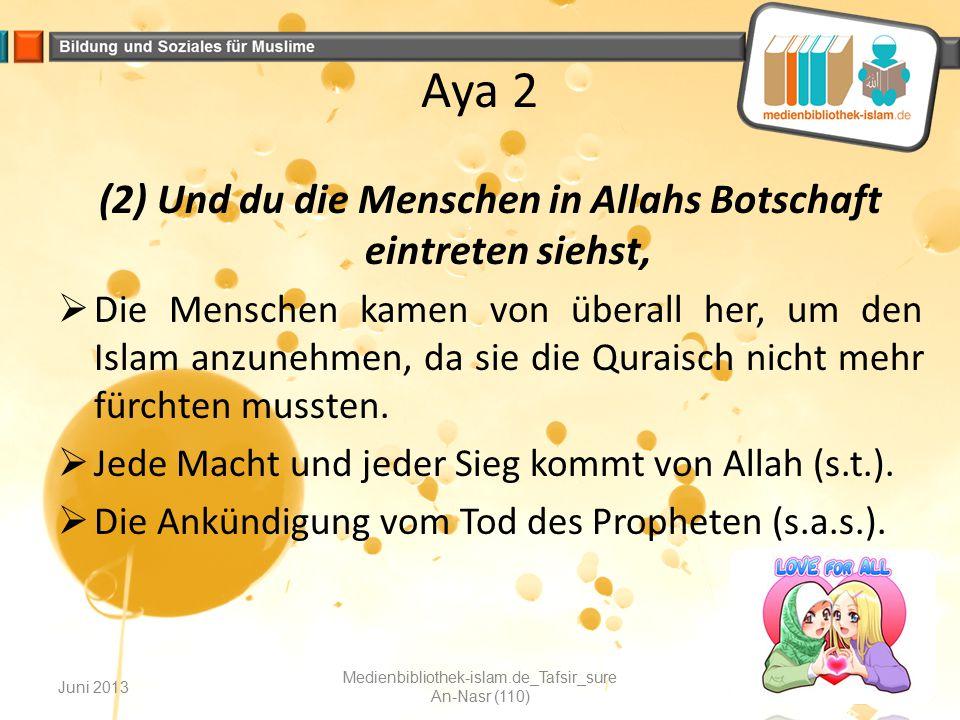 (2) Und du die Menschen in Allahs Botschaft eintreten siehst,