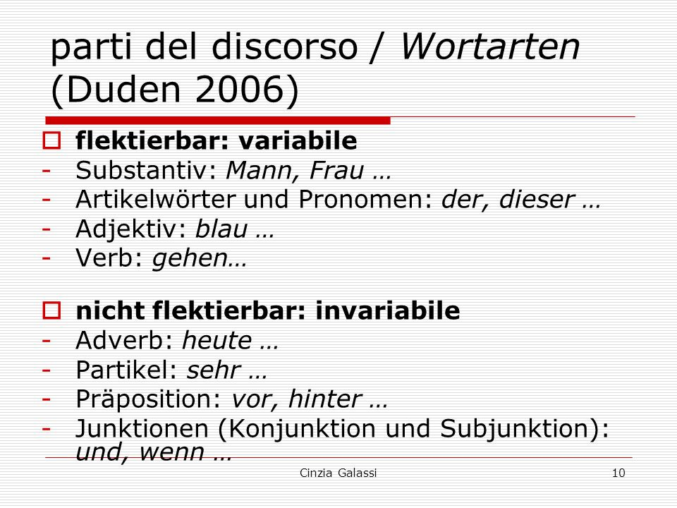 parti del discorso / Wortarten (Duden 2006)
