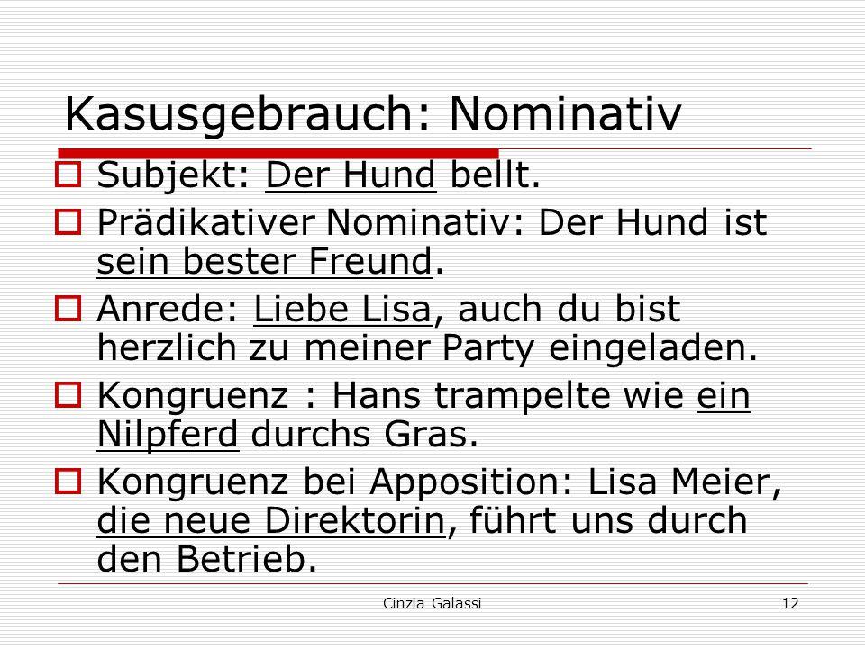 Kasusgebrauch: Nominativ