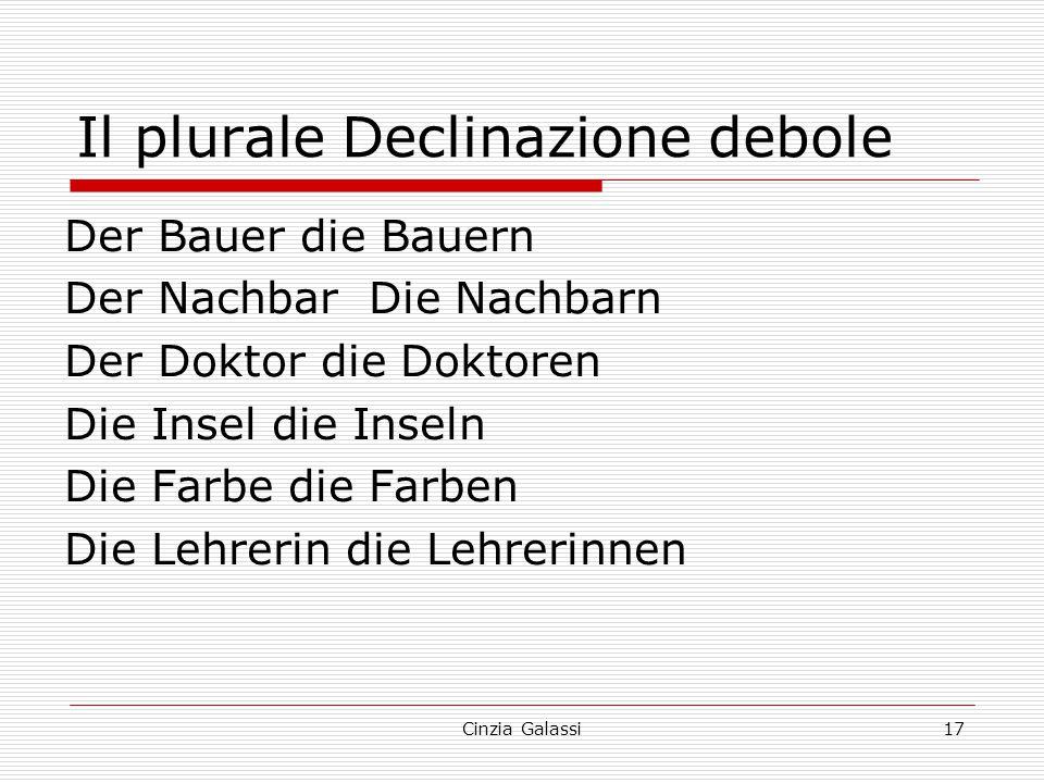 Il plurale Declinazione debole