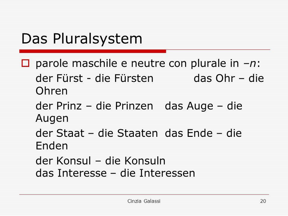 Das Pluralsystem parole maschile e neutre con plurale in –n: