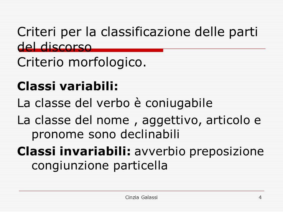 Criteri per la classificazione delle parti del discorso Criterio morfologico.