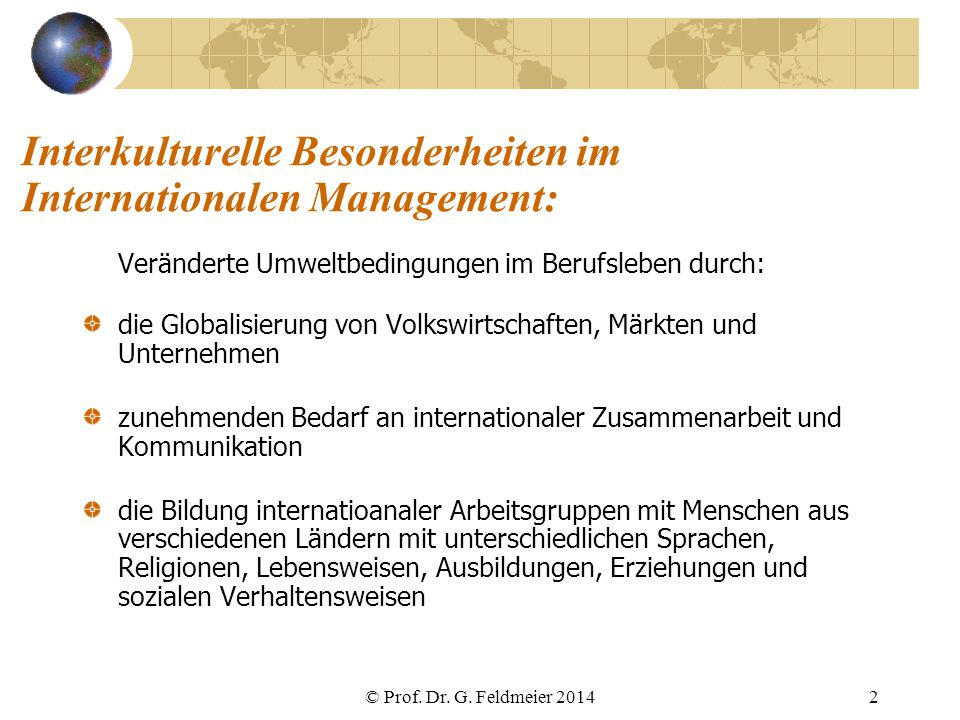 Interkulturelle Besonderheiten im Internationalen Management: