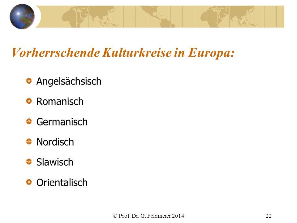 Vorherrschende Kulturkreise in Europa: