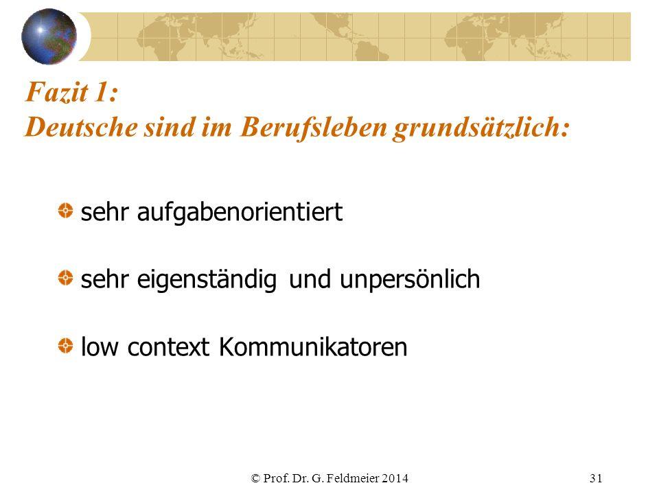 Fazit 1: Deutsche sind im Berufsleben grundsätzlich: