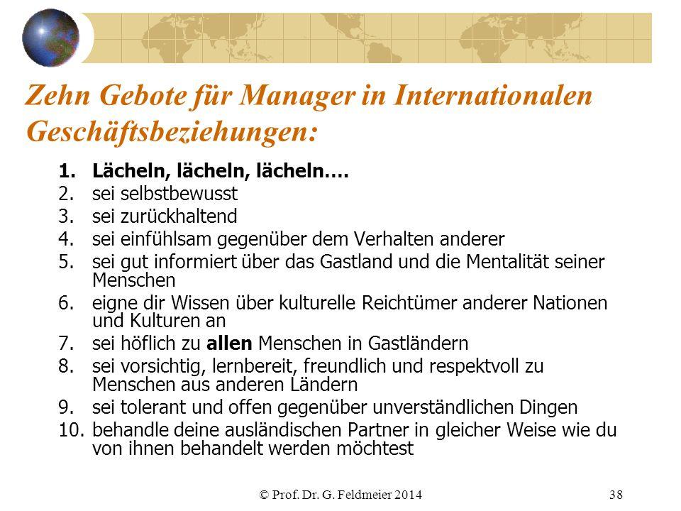 Zehn Gebote für Manager in Internationalen Geschäftsbeziehungen: