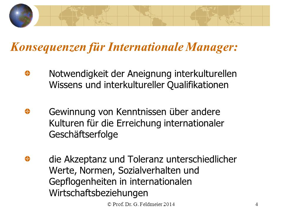 Konsequenzen für Internationale Manager: