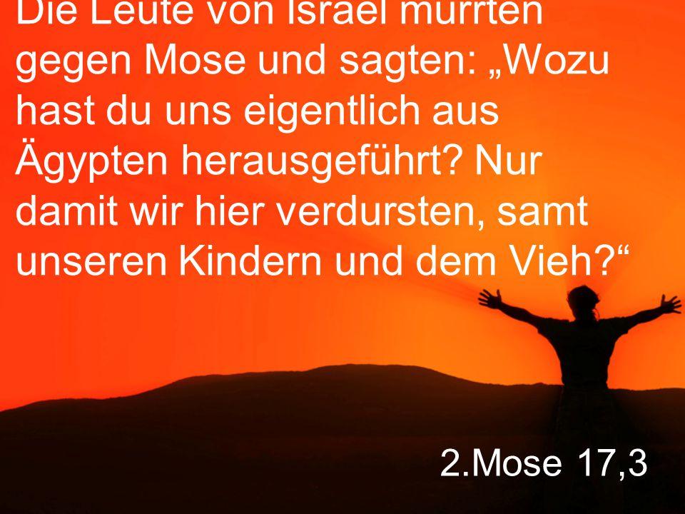 """Die Leute von Israel murrten gegen Mose und sagten: """"Wozu hast du uns eigentlich aus Ägypten herausgeführt Nur damit wir hier verdursten, samt unseren Kindern und dem Vieh"""