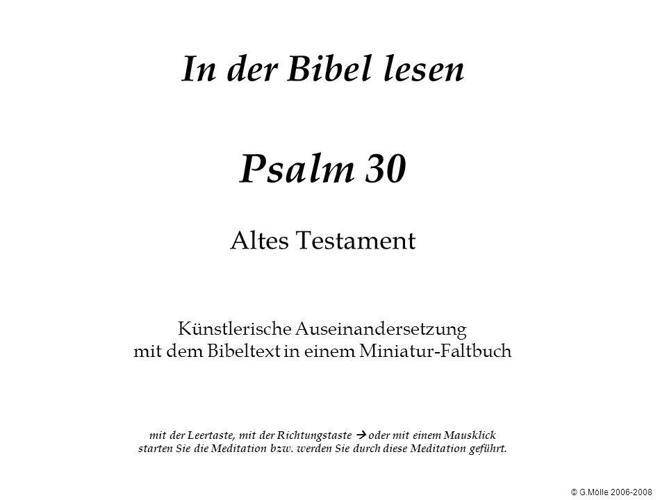 In der Bibel lesen Psalm 30 Altes Testament Künstlerische Auseinandersetzung mit dem Bibeltext in einem Miniatur-Faltbuch mit der Leertaste, mit der Richtungstaste  oder mit einem Mausklick starten Sie die Meditation bzw. werden Sie durch diese Meditation geführt.
