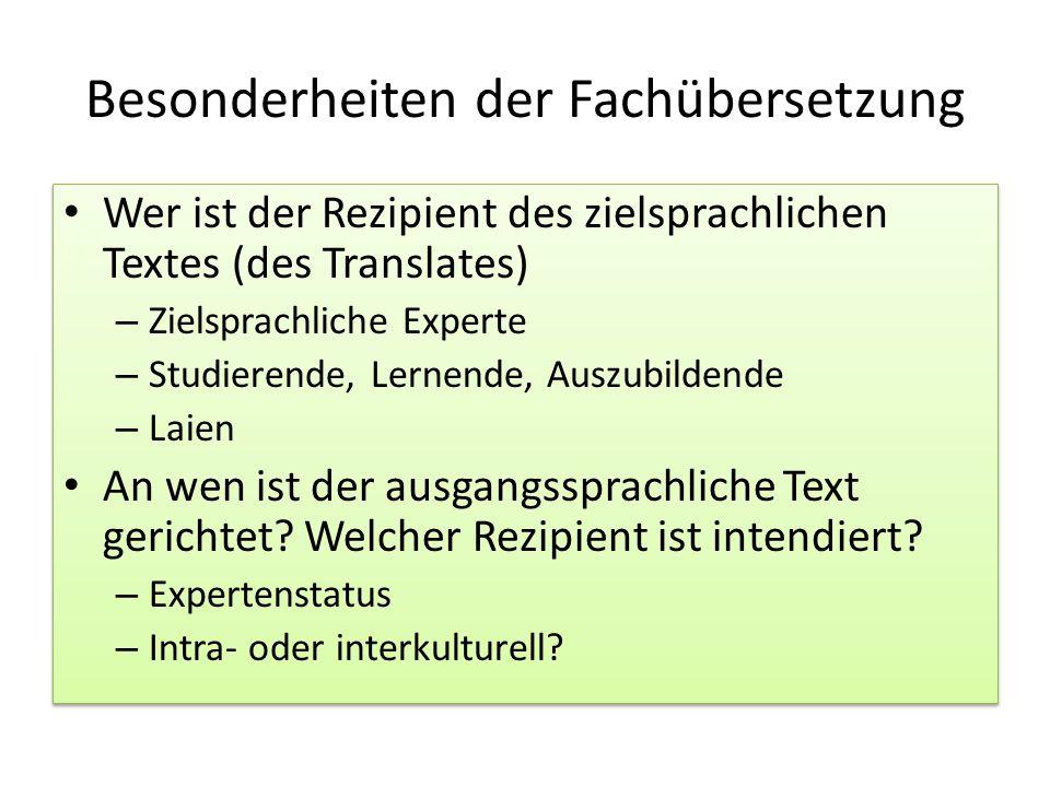 Besonderheiten der Fachübersetzung