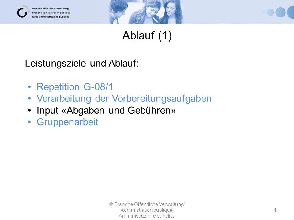 Ablauf (1) Leistungsziele und Ablauf: Repetition G-08/1