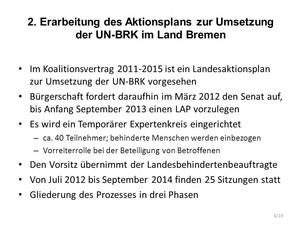2. Erarbeitung des Aktionsplans zur Umsetzung der UN-BRK im Land Bremen