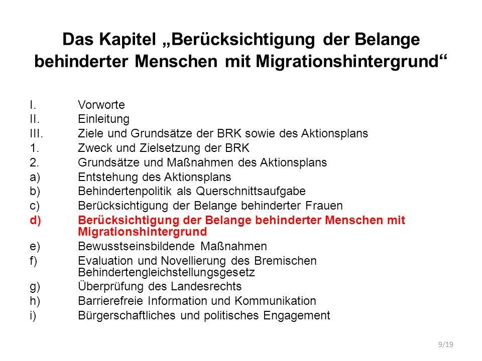 """Das Kapitel """"Berücksichtigung der Belange behinderter Menschen mit Migrationshintergrund"""