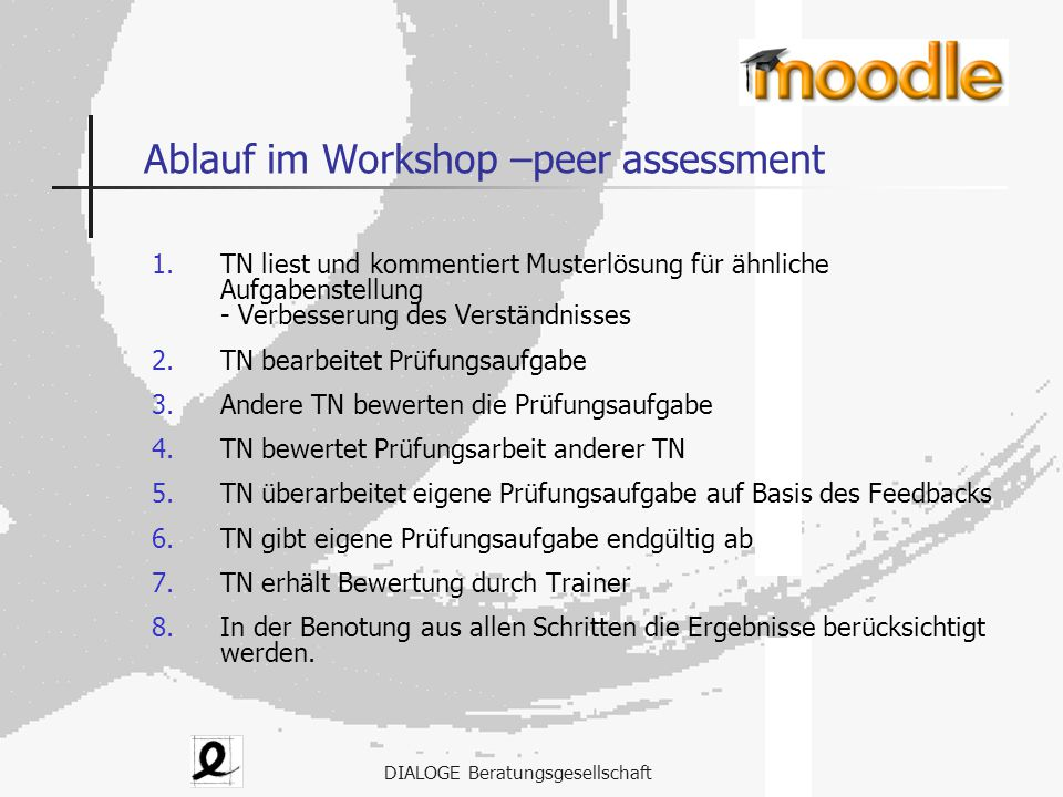 Ablauf im Workshop –peer assessment