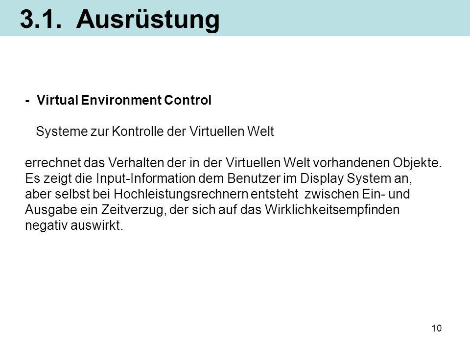 3.1. Ausrüstung - Virtual Environment Control