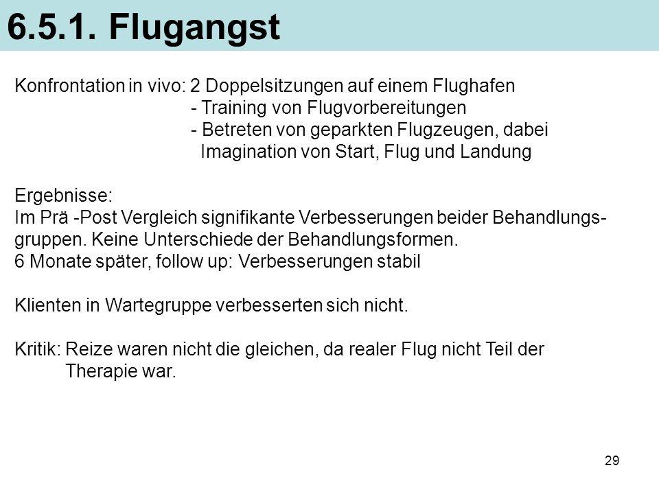 6.5.1. Flugangst Konfrontation in vivo: 2 Doppelsitzungen auf einem Flughafen. - Training von Flugvorbereitungen.