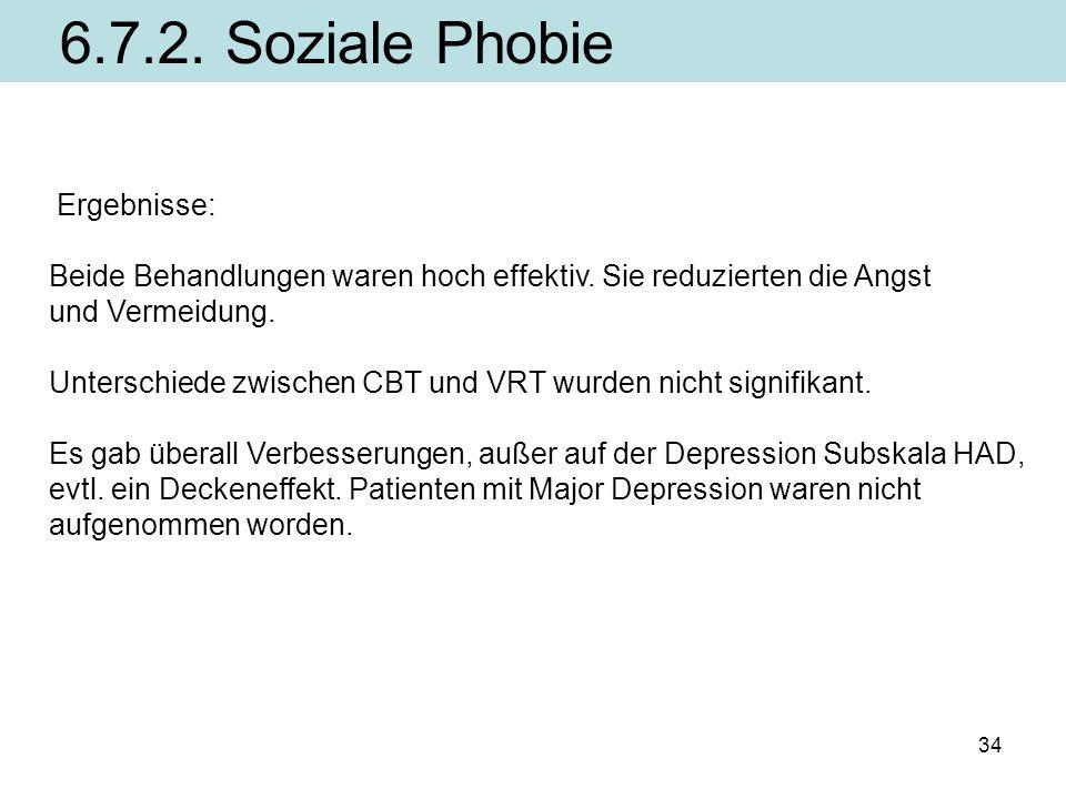 6.7.2. Soziale Phobie Ergebnisse: