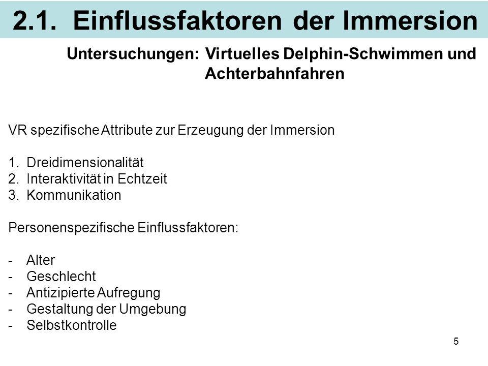 2.1. Einflussfaktoren der Immersion