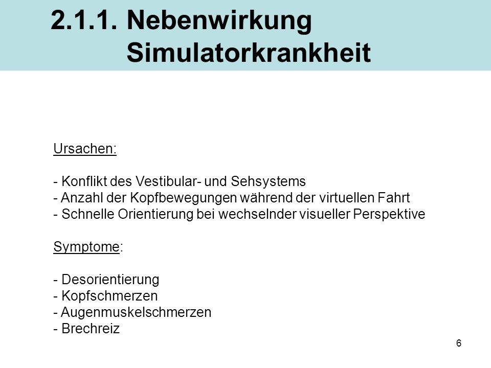 2.1.1. Nebenwirkung Simulatorkrankheit Ursachen: