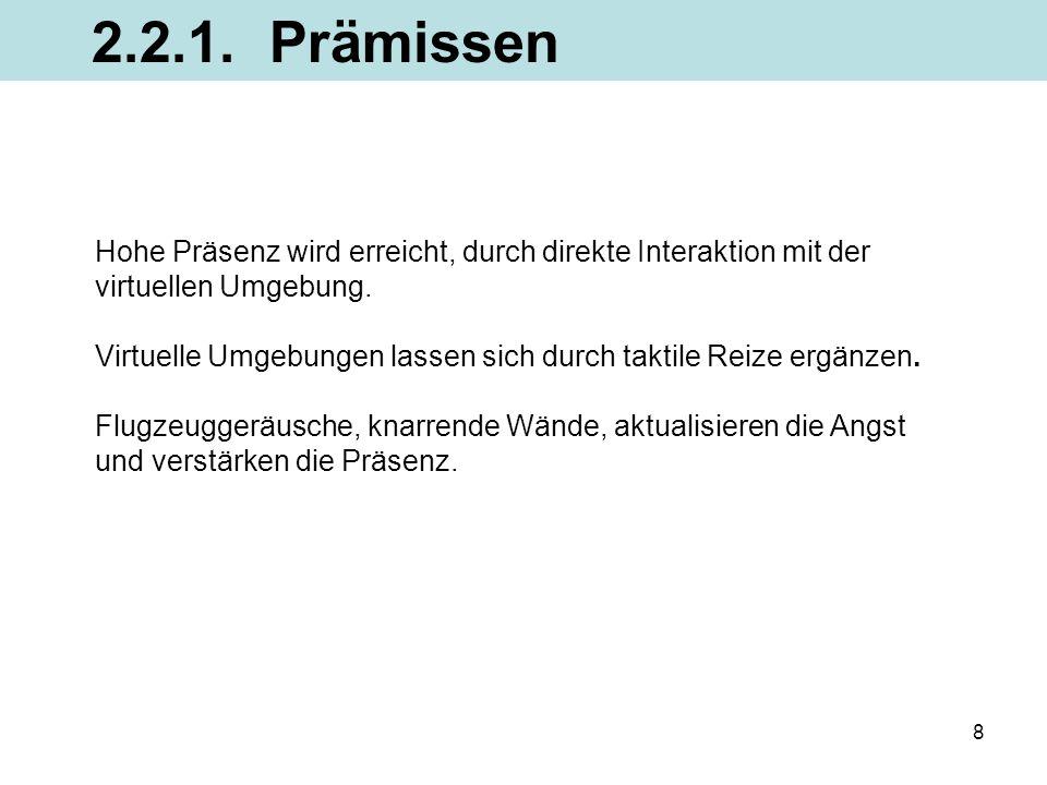 2.2.1. Prämissen Hohe Präsenz wird erreicht, durch direkte Interaktion mit der. virtuellen Umgebung.