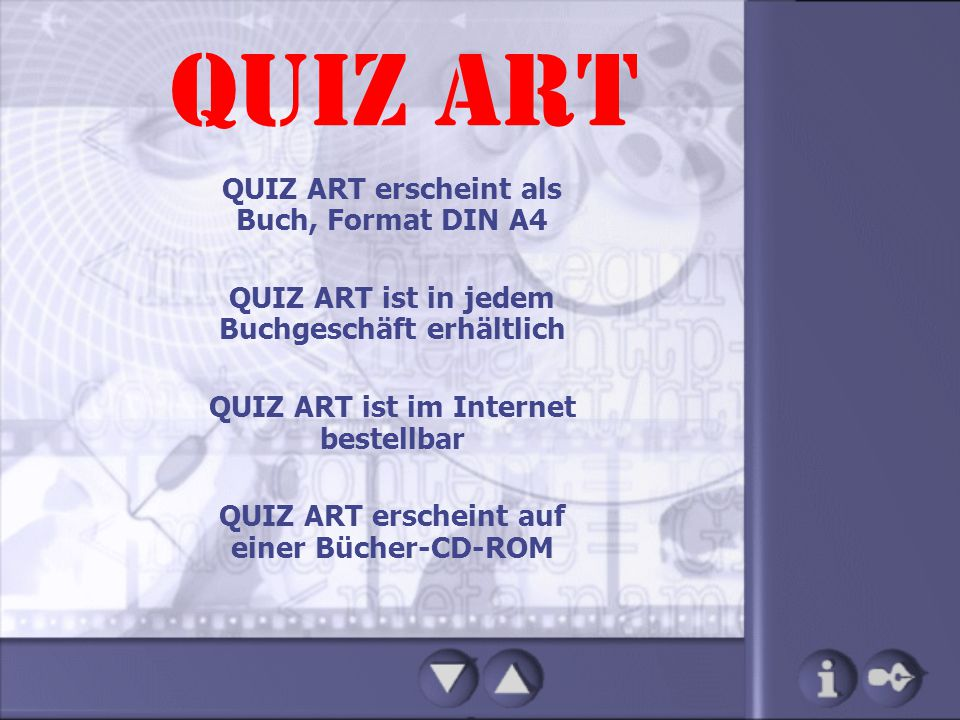 QUIZ ART QUIZ ART ist in jedem Buchgeschäft erhältlich