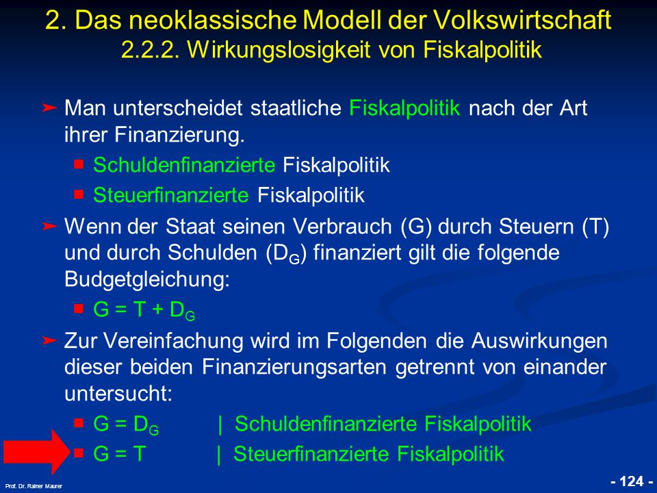 2. Das neoklassische Modell der Volkswirtschaft 2. 2. 2