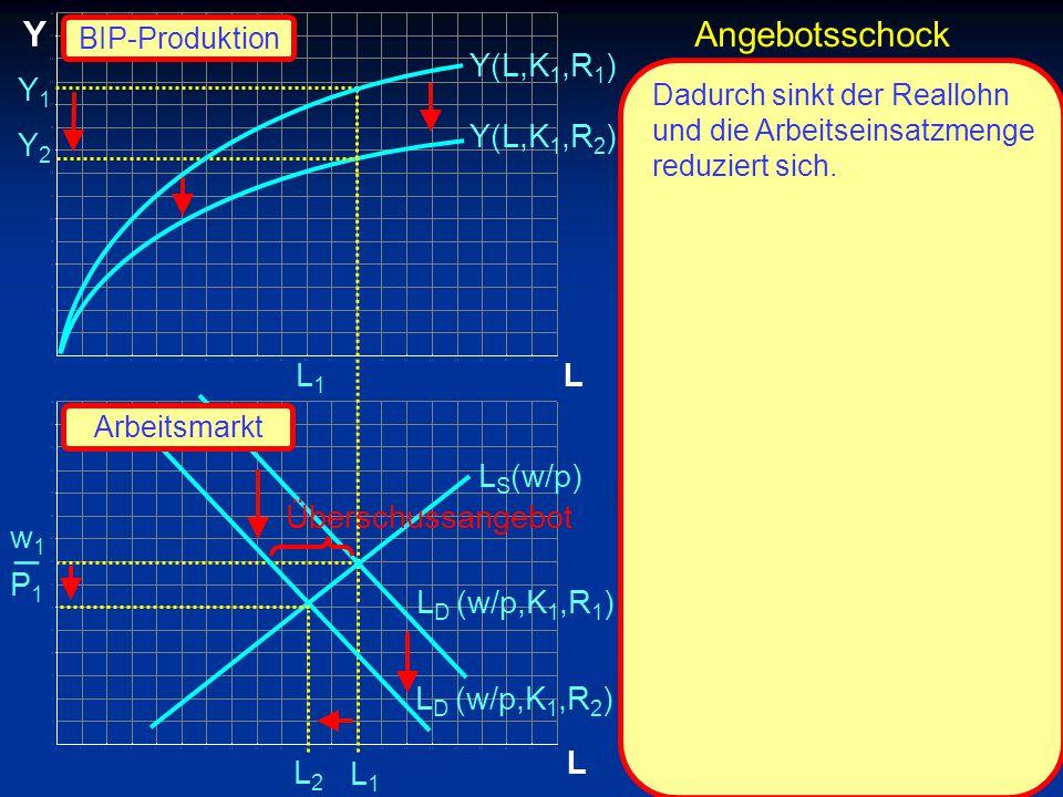 _ Y Angebotsschock Y(L,K1,R1) Y1 Y(L,K1,R2) Y2 L1 L LS(w/p)