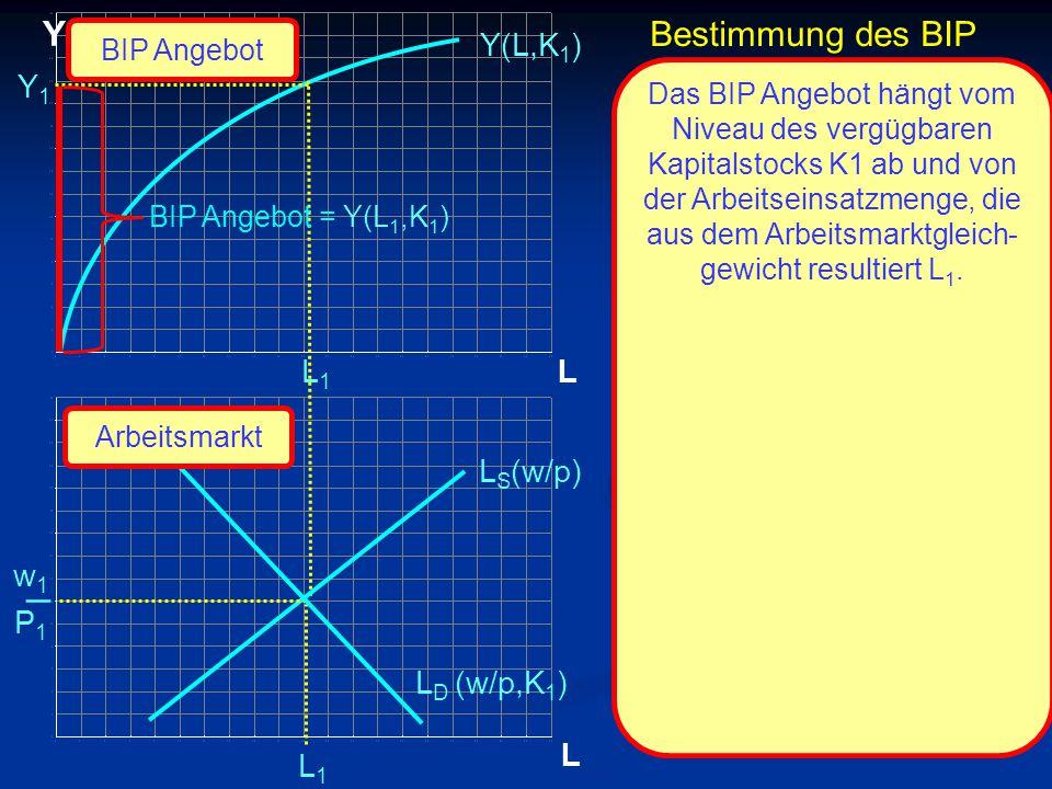 _ Y Bestimmung des BIP Y(L,K1) Y1 L1 L LS(w/p) w1 P1 LD (w/p,K1) L L1
