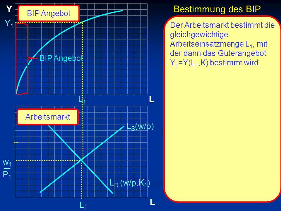 _ Y Bestimmung des BIP Y1 L1 L LS(w/p) w1 P1 LD (w/p,K1) L L1