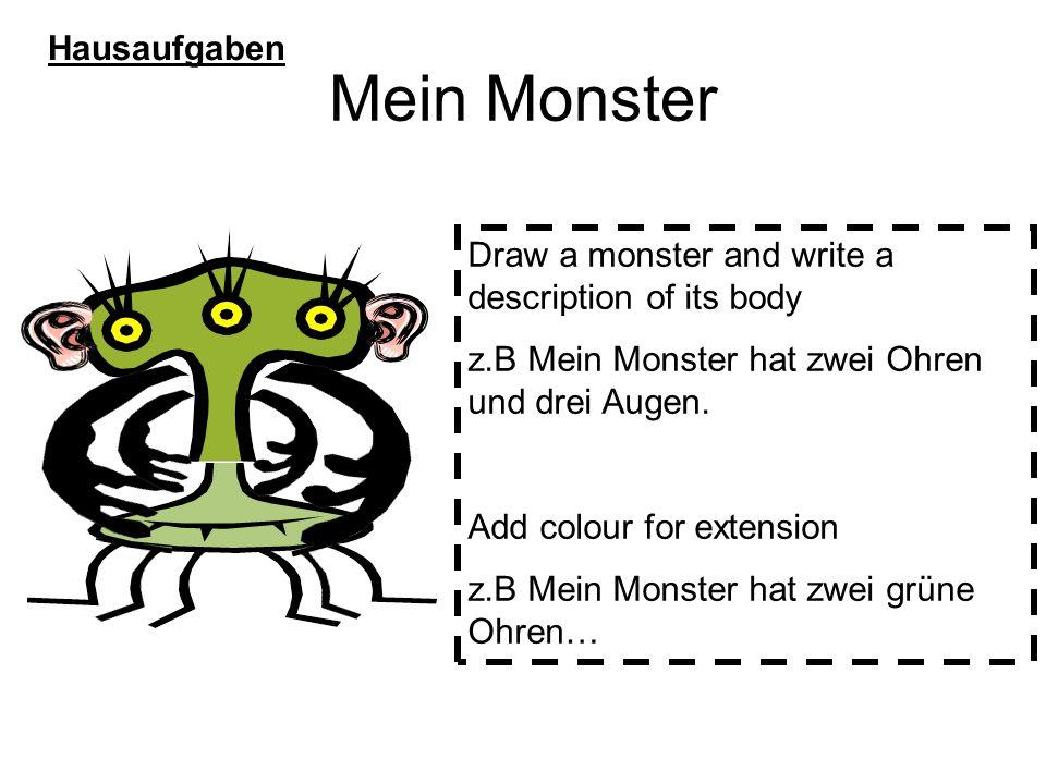 Mein Monster Hausaufgaben