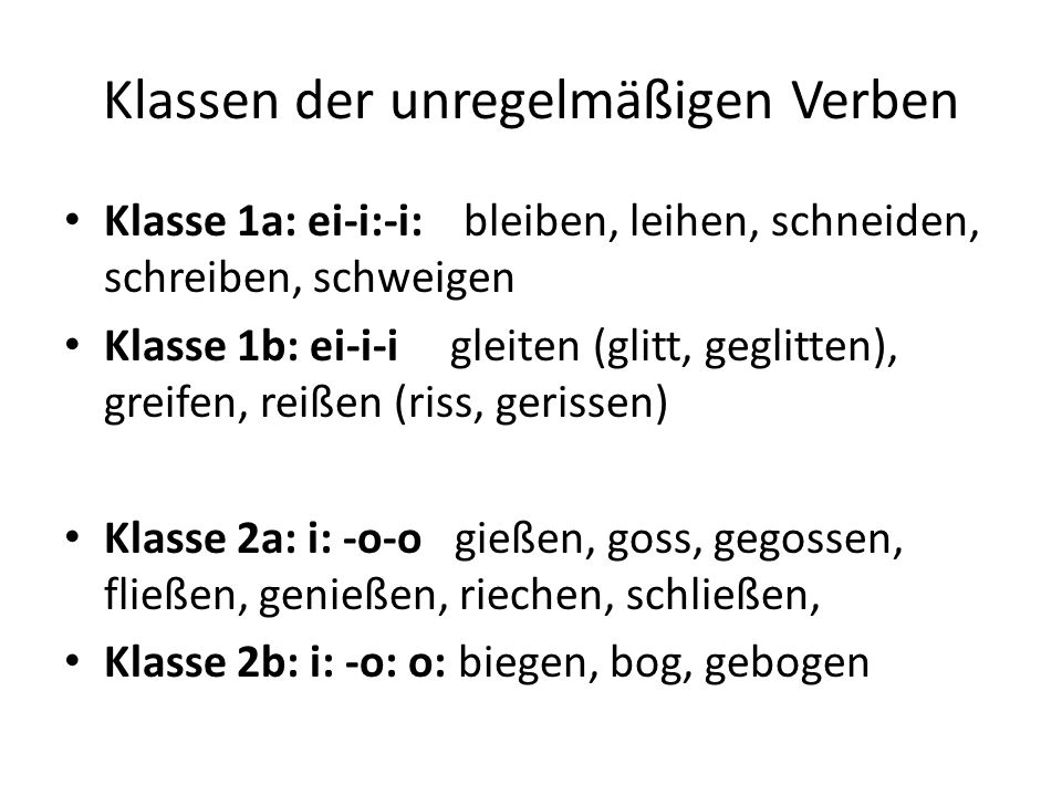 Klassen der unregelmäßigen Verben