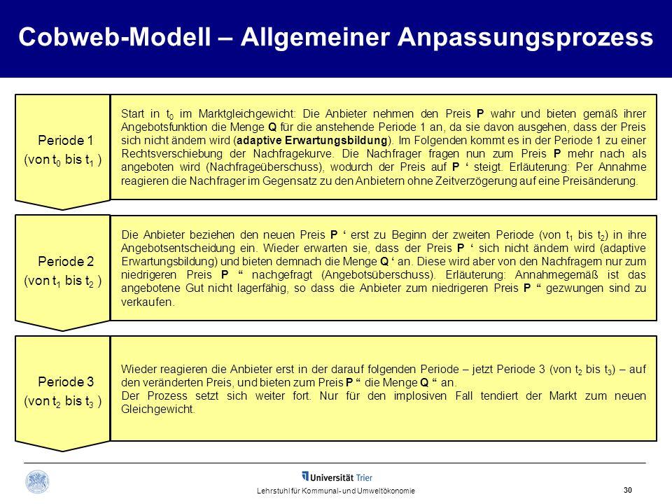 Cobweb-Modell – Allgemeiner Anpassungsprozess